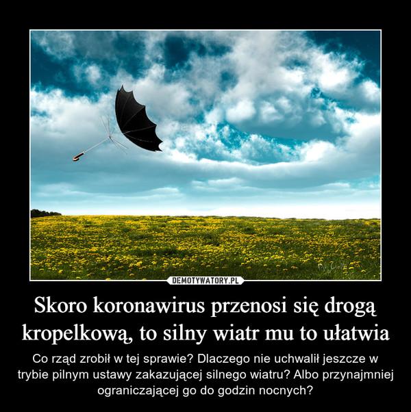 Skoro koronawirus przenosi się drogą kropelkową, to silny wiatr mu to ułatwia – Co rząd zrobił w tej sprawie? Dlaczego nie uchwalił jeszcze w trybie pilnym ustawy zakazującej silnego wiatru? Albo przynajmniej ograniczającej go do godzin nocnych?