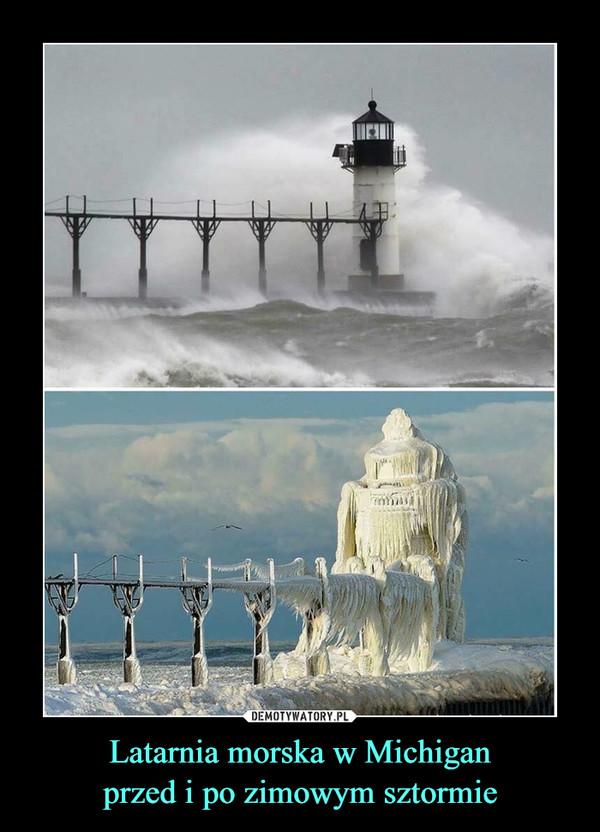 Latarnia morska w Michiganprzed i po zimowym sztormie –