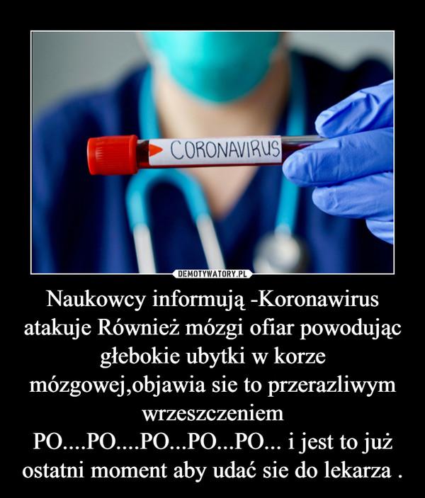 Naukowcy informują -Koronawirus atakuje Również mózgi ofiar powodując głebokie ubytki w korze mózgowej,objawia sie to przerazliwym wrzeszczeniem PO....PO....PO...PO...PO... i jest to już ostatni moment aby udać sie do lekarza . –