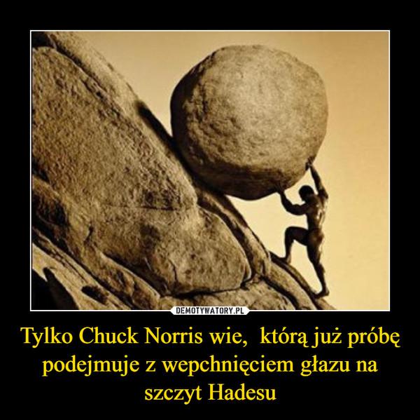 Tylko Chuck Norris wie,  którą już próbę podejmuje z wepchnięciem głazu na szczyt Hadesu –