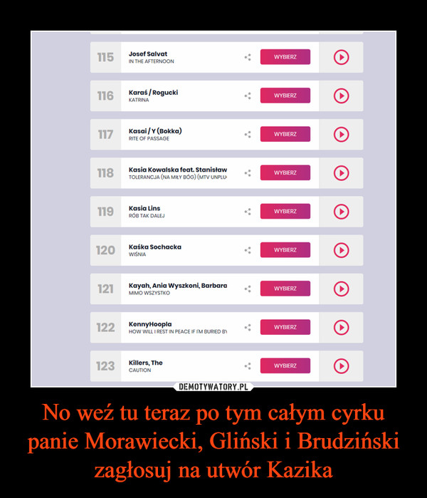 No weź tu teraz po tym całym cyrku panie Morawiecki, Gliński i Brudziński zagłosuj na utwór Kazika –