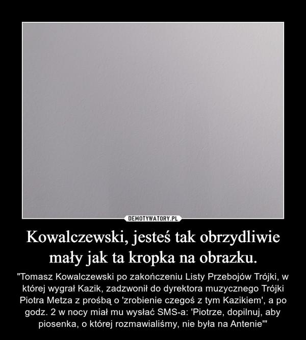 Kowalczewski, jesteś tak obrzydliwie mały jak ta kropka na obrazku.