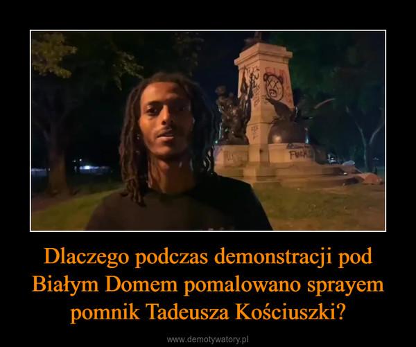 Dlaczego podczas demonstracji pod Białym Domem pomalowano sprayem pomnik Tadeusza Kościuszki? –