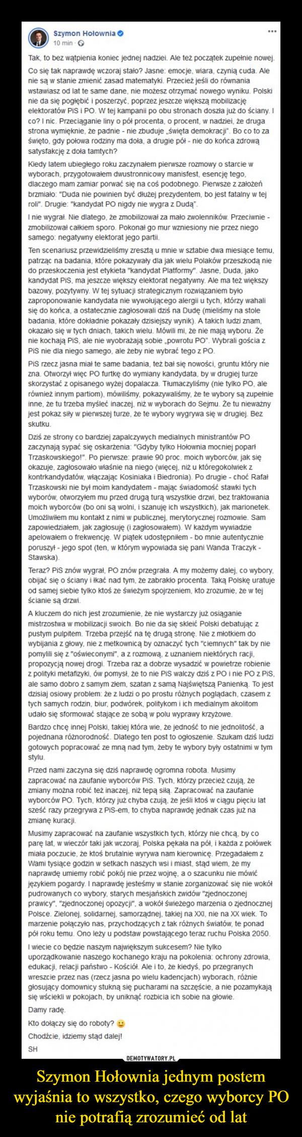 Szymon Hołownia jednym postem wyjaśnia to wszystko, czego wyborcy PO nie potrafią zrozumieć od lat