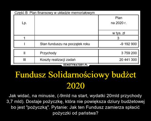 Fundusz Solidarnościowy budżet 2020
