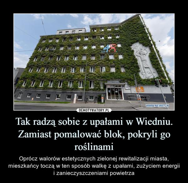 Tak radzą sobie z upałami w Wiedniu. Zamiast pomalować blok, pokryli go roślinami – Oprócz walorów estetycznych zielonej rewitalizacji miasta, mieszkańcy toczą w ten sposób walkę z upałami, zużyciem energii i zanieczyszczeniami powietrza