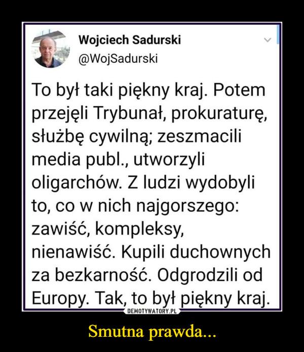 Smutna prawda... –  Wojciech Sadurski v@WojSadurskiTo był taki piękny kraj. Potemprzejęli Trybunał, prokuraturę,służbę cywilną; zeszmacilimedia publ., utworzylioligarchów. Z ludzi wydobylito, co w nich najgorszego:zawiść, kompleksy,nienawiść. Kupili duchownychza bezkarność. Odgrodzili odEuropy. Tak, to był piękny kraj.