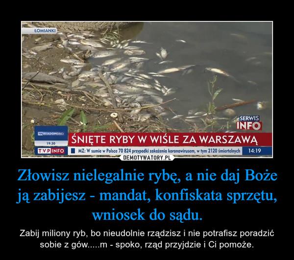 Złowisz nielegalnie rybę, a nie daj Boże ją zabijesz - mandat, konfiskata sprzętu, wniosek do sądu. – Zabij miliony ryb, bo nieudolnie rządzisz i nie potrafisz poradzić sobie z gów.....m - spoko, rząd przyjdzie i Ci pomoże.
