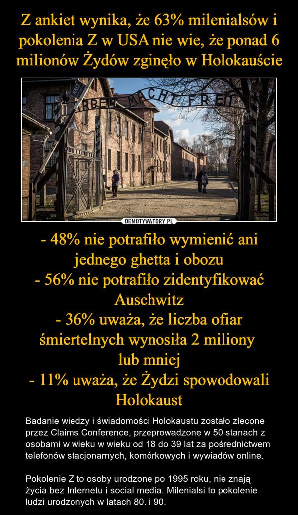 - 48% nie potrafiło wymienić ani jednego ghetta i obozu- 56% nie potrafiło zidentyfikować Auschwitz- 36% uważa, że liczba ofiar śmiertelnych wynosiła 2 miliony lub mniej- 11% uważa, że Żydzi spowodowali Holokaust – Badanie wiedzy i świadomości Holokaustu zostało zlecone przez Claims Conference, przeprowadzone w 50 stanach z osobami w wieku w wieku od 18 do 39 lat za pośrednictwem telefonów stacjonarnych, komórkowych i wywiadów online.Pokolenie Z to osoby urodzone po 1995 roku, nie znają życia bez Internetu i social media. Milenialsi to pokolenie ludzi urodzonych w latach 80. i 90.