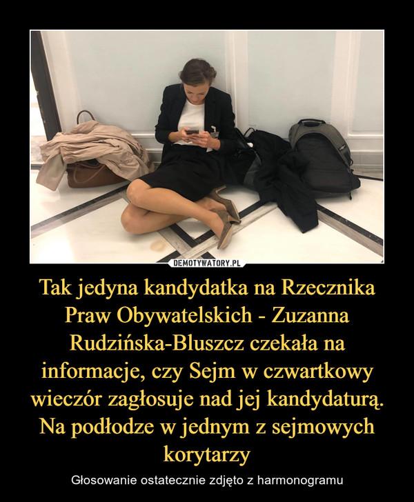 Tak jedyna kandydatka na Rzecznika Praw Obywatelskich - Zuzanna Rudzińska-Bluszcz czekała na informacje, czy Sejm w czwartkowy wieczór zagłosuje nad jej kandydaturą. Na podłodze w jednym z sejmowych korytarzy – Głosowanie ostatecznie zdjęto z harmonogramu