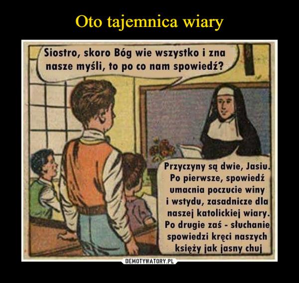 –  [Siostro, skoro Bóg wie wszystko i zna nasze myśli, to po co nam spowiedź? Przyczyny są dwie, Jasiu. Po pierwsze, spowiedź umacnia poczucie winy i wstydu, zasadnicze dla •naszej katolickiej wiary. Po drugie zaś - słuchanie spowiedzi kręci naszych księży jak jasny chuj