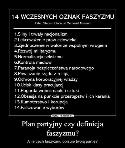 Plan partyjny czy definicja faszyzmu?