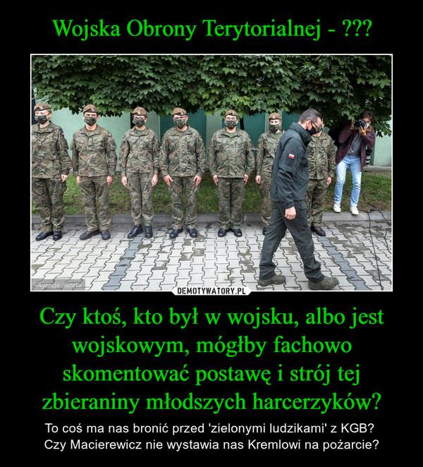 Czy ktoś, kto był w wojsku, albo jest wojskowym, mógłby fachowo skomentować postawę i strój tej zbieraniny młodszych harcerzyków? – To coś ma nas bronić przed 'zielonymi ludzikami' z KGB? Czy Macierewicz nie wystawia nas Kremlowi na pożarcie?