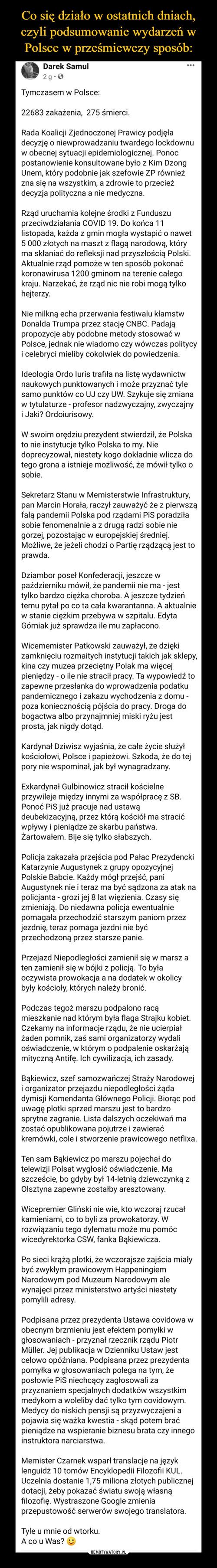 Co się działo w ostatnich dniach, czyli podsumowanie wydarzeń w Polsce w prześmiewczy sposób: