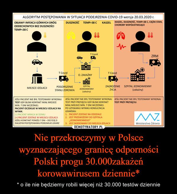 Nie przekroczymy w Polsce wyznaczającego granicę odporności Polski progu 30.000zakażeń korowawirusem dziennie* – * o ile nie będziemy robili więcej niż 30.000 testów dziennie