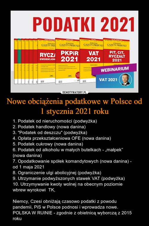 Nowe obciążenia podatkowe w Polsce od 1 stycznia 2021 roku