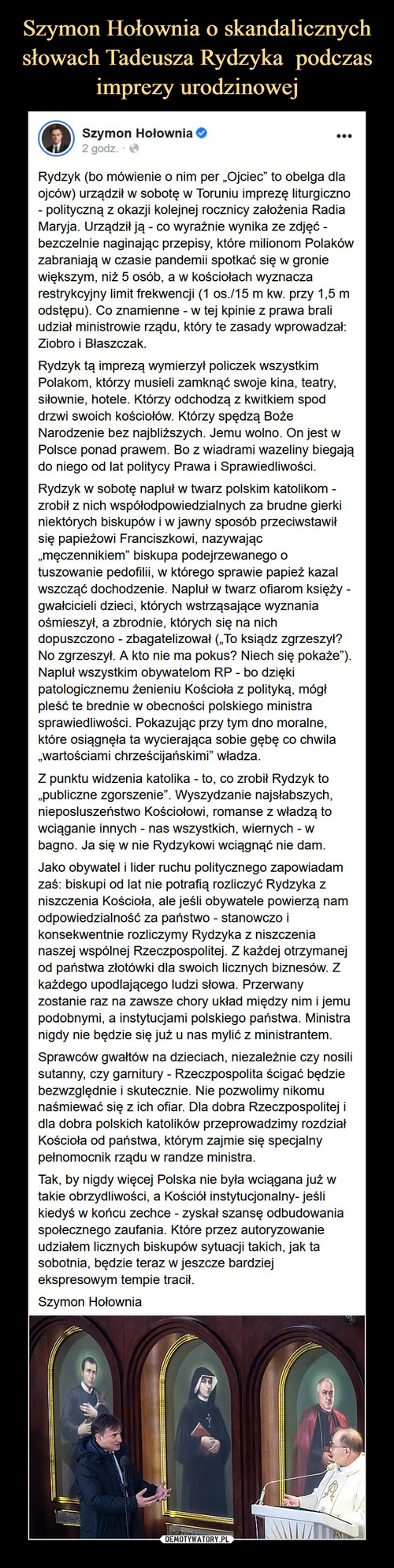 Szymon Hołownia o skandalicznych słowach Tadeusza Rydzyka  podczas imprezy urodzinowej
