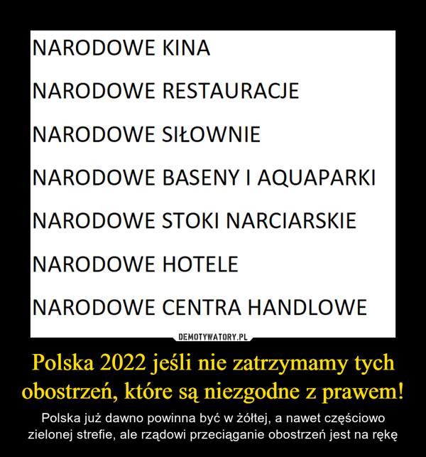 Polska 2022 jeśli nie zatrzymamy tych obostrzeń, które są niezgodne z prawem! – Polska już dawno powinna być w żółtej, a nawet częściowo zielonej strefie, ale rządowi przeciąganie obostrzeń jest na rękę