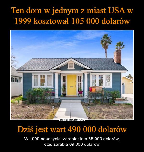 Dziś jest wart 490 000 dolarów – W 1999 nauczyciel zarabiał tam 65 000 dolarów,dziś zarabia 69 000 dolarów