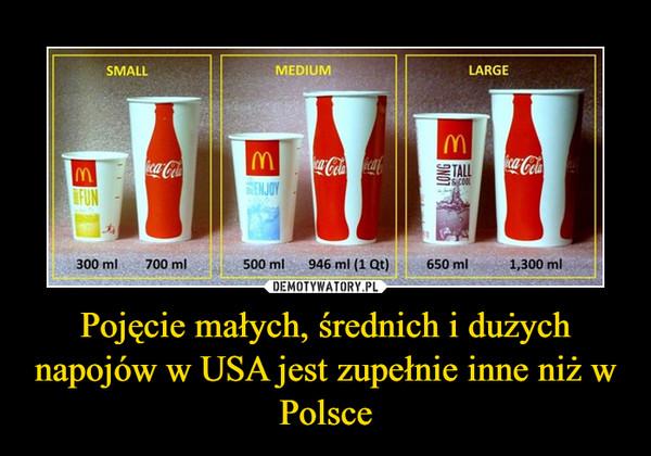 Pojęcie małych, średnich i dużych napojów w USA jest zupełnie inne niż w Polsce –