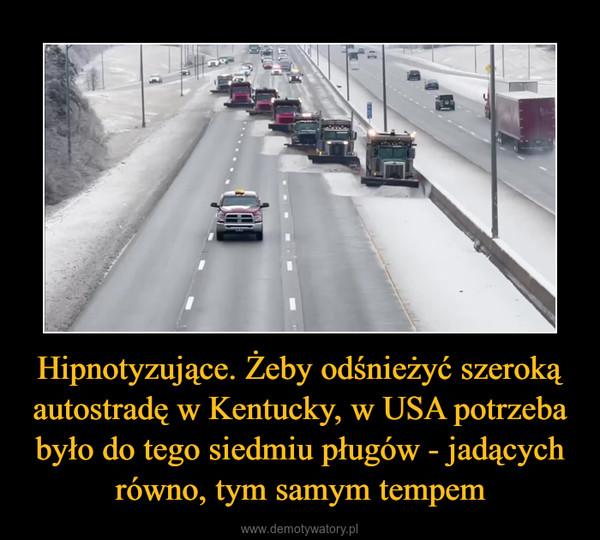 Hipnotyzujące. Żeby odśnieżyć szeroką autostradę w Kentucky, w USA potrzeba było do tego siedmiu pługów - jadących równo, tym samym tempem –