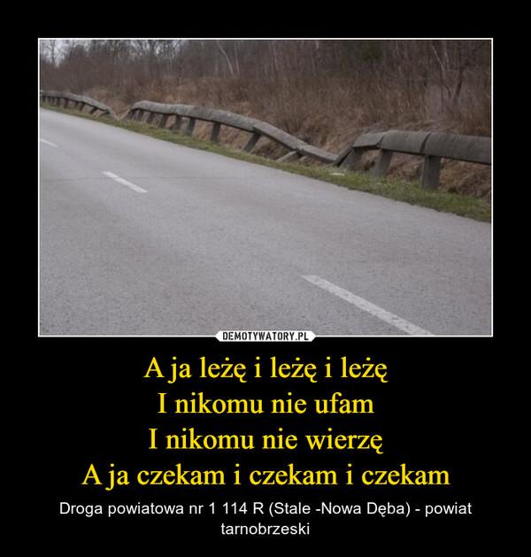 A ja leżę i leżę i leżęI nikomu nie ufamI nikomu nie wierzęA ja czekam i czekam i czekam – Droga powiatowa nr 1 114 R (Stale -Nowa Dęba) - powiat tarnobrzeski
