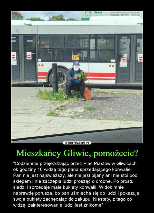 """Mieszkańcy Gliwic, pomożecie? – """"Codziennie przejeżdżając przez Plac Piastów w Gliwicach ok godziny 16 widzę tego pana sprzedającego konwalie. Pan nie jest najświeższy, ale nie jest pijany ani nie stoi pod sklepem i nie zaczepia ludzi prosząc o drobne. Po prostu siedzi i sprzedaje małe bukiety konwalii. Widok mnie naprawdę porusza, bo pan uśmiecha się do ludzi i pokazuje swoje bukiety zachęcając do zakupu. Niestety, z tego co widzę, zainteresowanie ludzi jest znikome"""""""