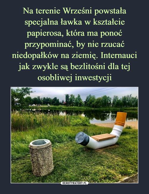 Na terenie Wrześni powstała specjalna ławka w kształcie papierosa, która ma ponoć przypominać, by nie rzucać niedopałków na ziemię. Internauci jak zwykle są bezlitośni dla tej osobliwej inwestycji