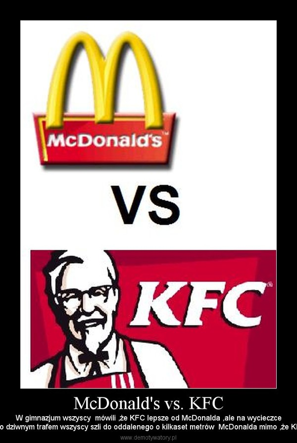 compare marketing strategies of macdonald vs kfc Mcdonald's marketing strategies should be looked at historically in order to see the larger picture of the firm's success there have been so many strategies since the inception of the firm that it is difficult to account for them all, the two most memorable are the development of the golden arches and ronald mcdonald.